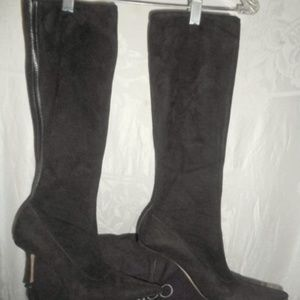 JIMMY CHOO Stevie Brown Suede Strch Boots 37.5 7.5